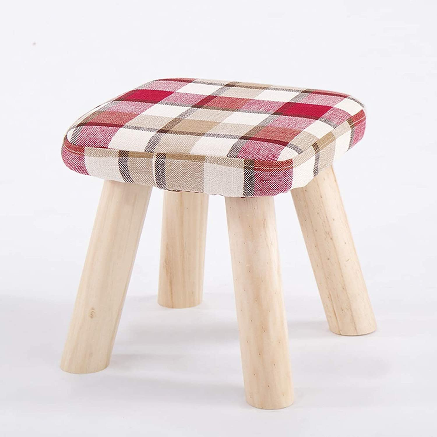 LRW Small Stool, Solid Tea, Tea Table, Sofa, Stool, Cloth, Stool, Stool, Low Stool, Fashion, shoes, Stools, Red Lattices. (Size   Height 28 cm)