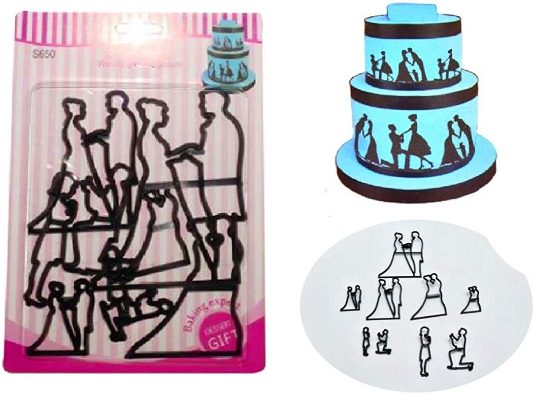 Wedding Bride Groom Cake Mold By Garloy 9 Pcs Print Die Ideal For Pastry Cookie Dough Sugarpaste Rolled Fondant Petal Paste Ggum Paste Marzipan Or Craft Clays