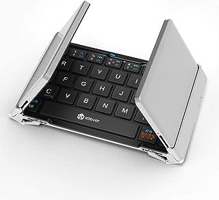 iClever Bluetooth キーボード 折りたたみ式 薄型 スマホ タブレット 専用 無線 ワイヤレス コンパクトキーボード ポータブル iPhone/iPad/Andriod 対応 ブラック シルバー IC-BK03