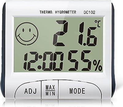 室内温度計湿度計 時計、温度、湿度のトリプル表示 卓上型デジタル温湿度計 マグネット・置き型 最高最低温度表示