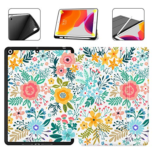 Dongke for iPad 10.2 Case, Trifold Smart Case with Pencil Holder for iPad 8th/7th Generation 10.2' 2020 2019 Release Auto Sleep/Wake Lightweight Stand Case, Colorful Floral