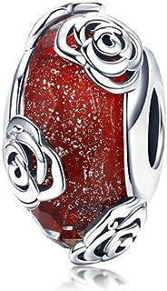 Murano Glass Bead Bracelets for Women 925 Silver Lampwork Ocean Charm Spacer Bead for European Bracelets Red Rose Charms N...