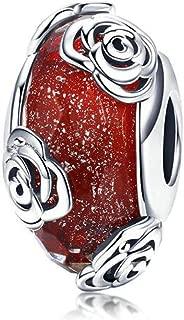 Murano Glass Bead Bracelets for Women 925 Silver Lampwork Ocean Charm Spacer Bead for European Bracelets (Red Rose Charms)