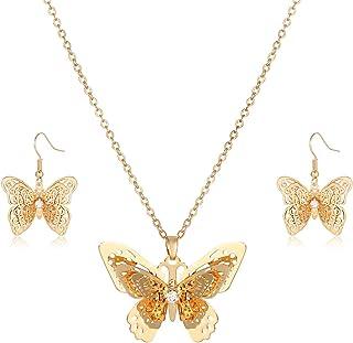 PHALIN Butterfly Necklace Earrings Set Filigree Butterfly Pendant Choker Necklaces for Women Delicate Garden Butterfly Dro...