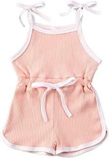 CIYCUIT Toddler Baby Girls One Piece Romper Clothes Ruffle Strap Sleeveless Jumpsuit Outfits
