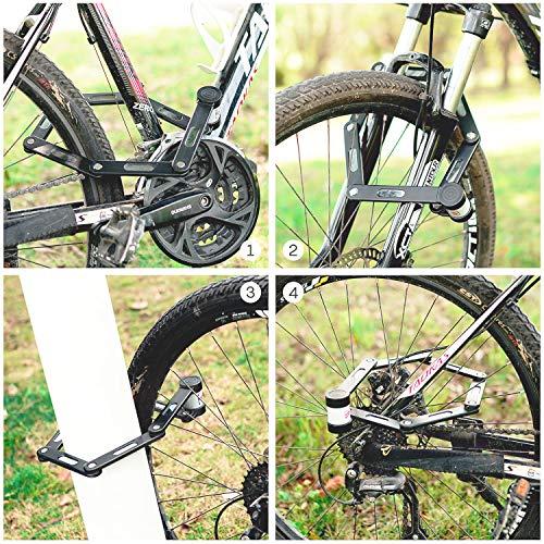 Ulikey Fahrrad- & Motorrad-Faltschloss, Faltschloss mit Halterung Fahrradschloss Schlüssel Lang 78cm 6 Gelenken Fahrradschloß Sicherheitsstufe Fahrrad Faltschloß für Mountainbike/Rennrad - 6