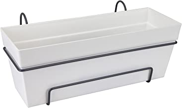 elho Loft Urban Trough Allin1 Jardinero balcón, Blanco, 49.3x25x53 cm