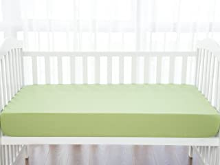 TILLYOU Silky Soft Microfiber Crib Sheet, Breathable Cozy Hypoallergenic Toddler Sheets for Boys and Girls, 28 x 52in Fits Standard Crib & Toddler Mattress, Pea Green