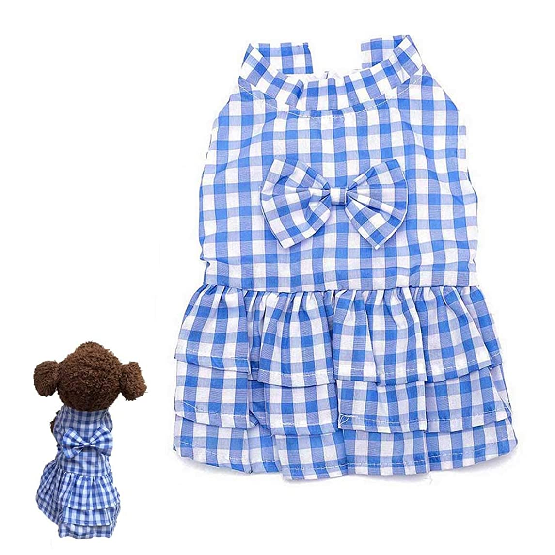 Petea Bowknot Plaid Tutu Dog Dress Vest Apparel Skirt Clothes Pet Puppy Princess Clothes for Dogs and Cats