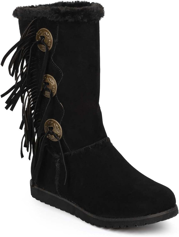 Liliana DD10 Women Suede Fur Lining Medallion Fringe Winter Boot - Black