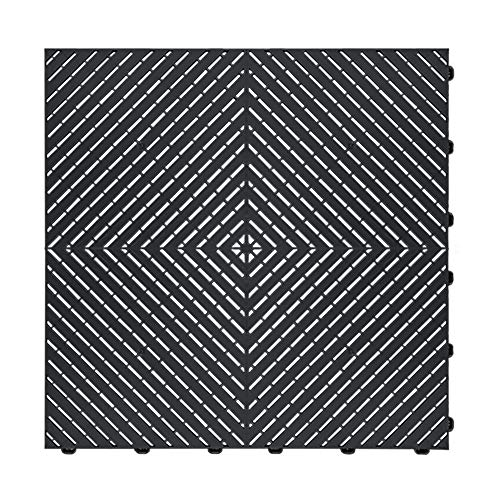 "Craftsman Interlocking Drain-Thru Garage Flooring 15.75"" x 15.75"" x 0.63 Tiles (Black, 24 Pack)"