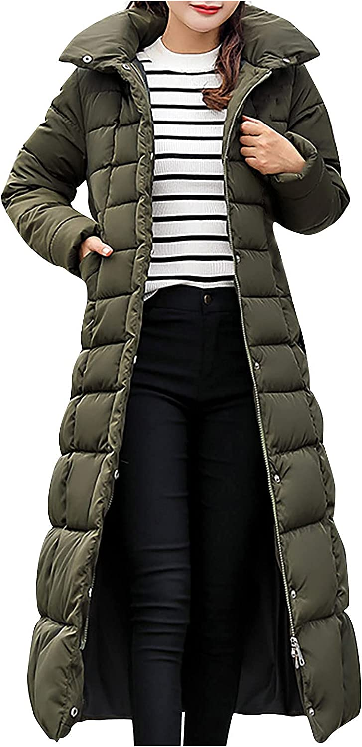 Women Over Knee Down Coats Furry Collar Puffer Jacket Thicken Warm Long Quilted Outwear Casual Slim Fit
