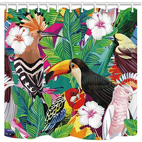 NJMRZX Tropische Pflanze Bananenblätter Duschvorhänge für Badezimmer Vogel Tukan Papagei in Hibiskus Blumen Polyester Stoff Wasserdicht Bad Vorhang Duschvorhang Haken enthalten 71X71in