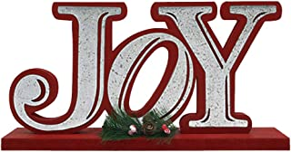 OUCHAN JOY Wooden Table Decor Christmas - Galvanized Christmas Tabletop Display Decorative Word Signs Decorations for Home and Kitchen(JOY)