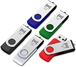 5 X MOSDART 32GB USB 2.0 Flash Drive Swivel Bulk Thumb Drives Jump Drive Zip Drive Memory Sticks with Led Indicator,Black/...