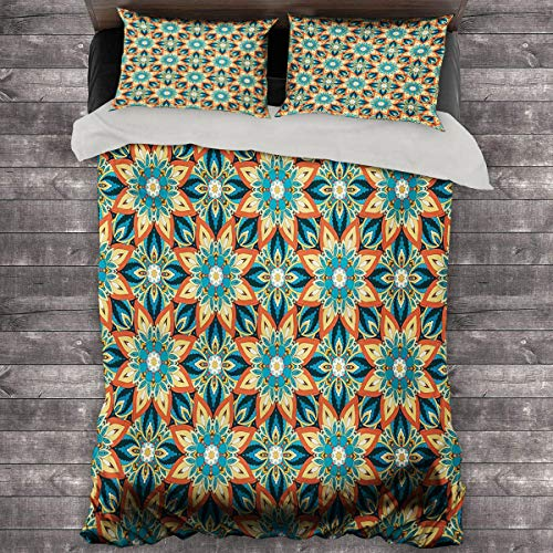 Ottoman 3-Piece Duvet Cover Ornate Floral Pattern with Vintage Mandala Elements Traditional and Bohemian Design Bedding Duvet Cover 89'x89' inch Multicolor
