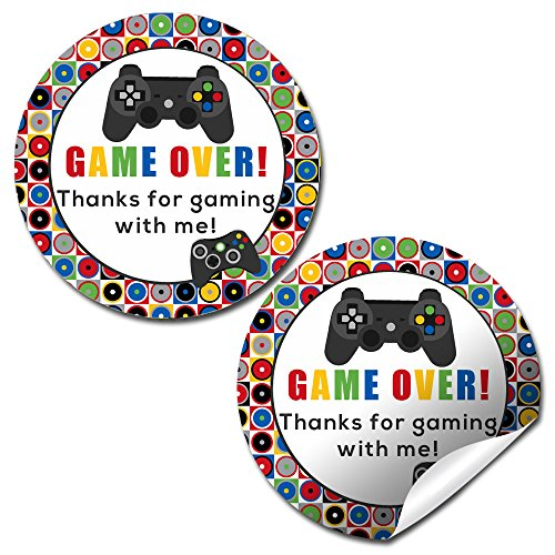 """Game Over, Video Game Birthday Party Sticker Labels, 40 2"""" Party Circle Stickers by AmandaCreation, Great for Party Favors, Envelope Seals & Goodie Bags"""