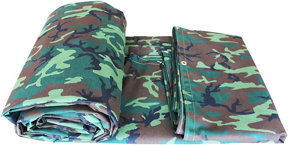 WDXJ Camouflage Feuille de bache épaisse imperméable à l'eau de Plein air imperméable à l'eau de Couverture de Feuille de bache de Prougeection terrestre armée Verte Camo, 550G   M2 (Taille   6  8m)