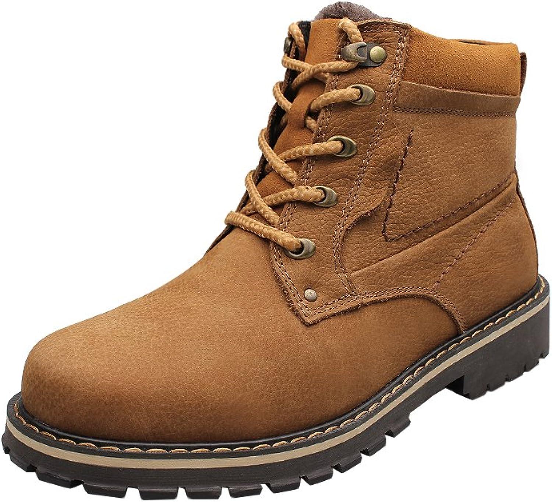 Modern Fantasy Mens British Vintage Style Genuine Leather Fleece Work shoes Martin Boots