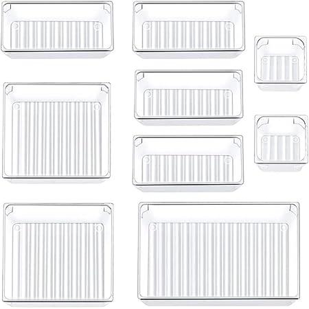 Siundam 9 pièces système d'organisateur d'organisateur de tiroir séparé avec 4 boîtes de rangement en plastique transparent Organisateur ,pour la Cuisine, Bureau