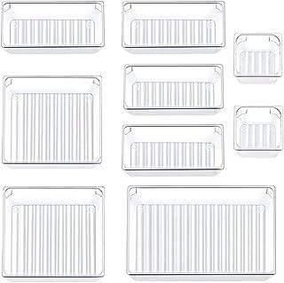 Siundam 9 pièces système d'organisateur d'organisateur de tiroir séparé avec 4 boîtes de rangement en plastique transparen...