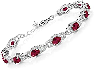 Gem Stone King 925 Sterling Silver Red Created Ruby Women's Tennis Bracelet (14.60 Cttw Oval 7 Inch With 1 Inch Extender)