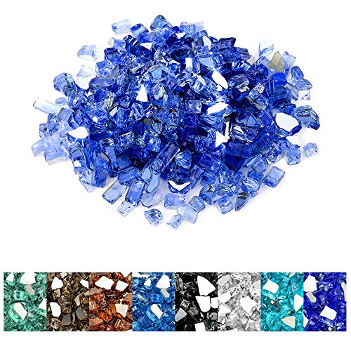 Mr. Fireglass 20 Pounds Cobalt Blue Reflective Fire Glass for Fire Pit Fireplace and Landscaping, 1/2 Inch Sized