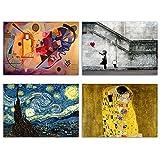 ARTISTI FAMOSI - Kandinsky - Klimt - Van Gogh - Banksy - Set di Poster da Parete - Stampa su cartoncino patinato - Senza Cornice - Decorazioni da Muro - 4 pz. A3 (cm 42x29,7)