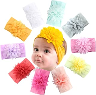 10 Colors Baby Girls Headbands Big Cotton Hair Bows Soft Elastic Hair Bands for Infant Newborn and Toddlers