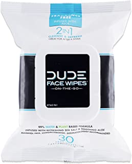 DUDE Face & Body Wipes 30 Count Unscented for Sensitive Skin Infused with Refreshing Sea Salt & Soothing Aloe, Moisturizing Face Cleansing Cloths for Men, Hypoallergenic, Alcohol Free
