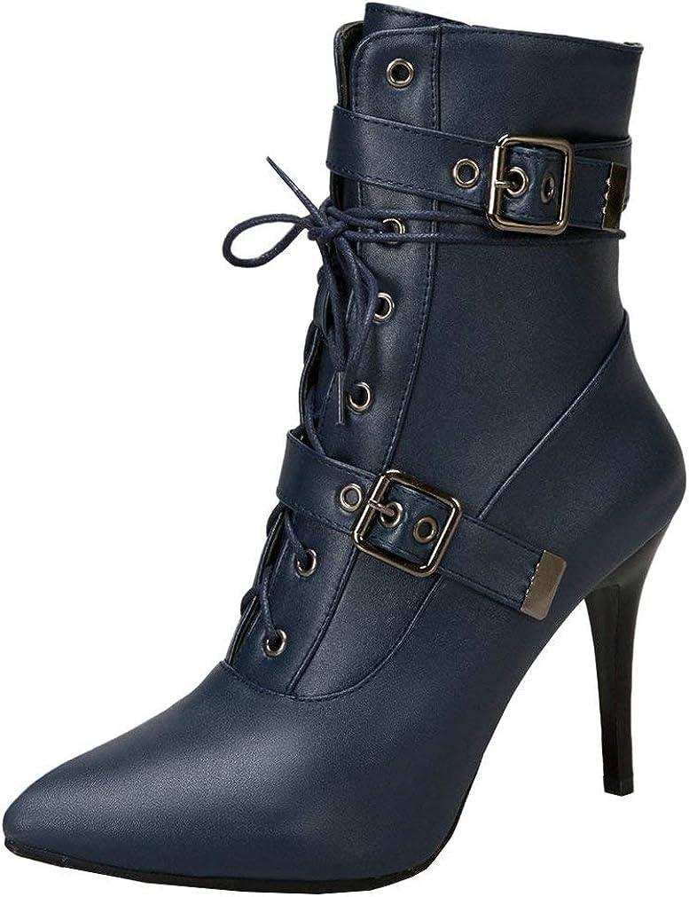 国内正規品 LUXMAX Womens Lace Up Stiletto High 数量限定 Pointed Heel Ankle Boots Toe
