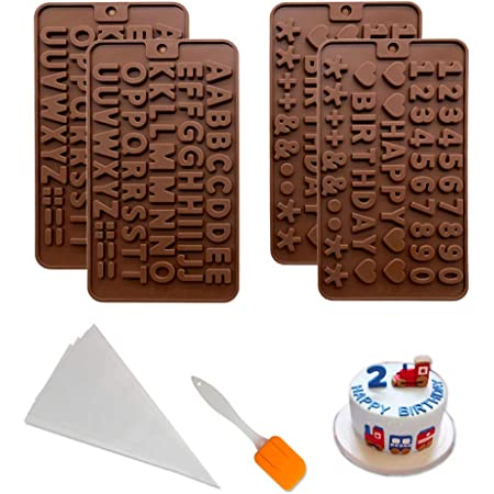 Chocolate Letter Molds with 4 Thickened Disposable Pastry Bags and 1 Spatula Letter Chocolate Molds for Cake Decorating 4 Pcs Silicone Letter Molds and Number Molds