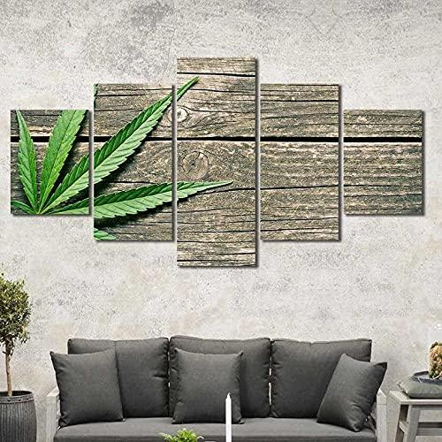 5 Piezas Cuadro sobre Lienzo Imagen Hoja de Cannabis Marihuana con Madera Impresión Pinturas Murales Decor Dibujo con Marco Oficina Aniversario Regalo Carteles Listo para Colgar 150 * 80cm