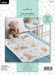 Bucilla Hallmark 48869E Stamped Cross Stitch Quilt Block, 6 pc, Playful Pals