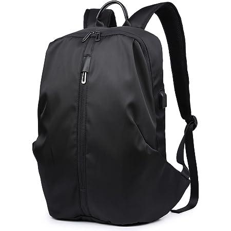 HYZUO Laptop Rucksack 15,6 Zoll Diebstahlsicherer Wasserfester Stilvoller Schlanker College Schulrucksack mit USB Ladeanschluss Business Reise Multifunktion Leichte Tasche für Herren Damen, Schwarz