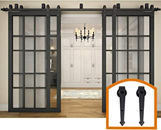 ZEKOO 14 FT Bypass Barn Door Hardware Lowes Ceiling Style Use for Four Doors