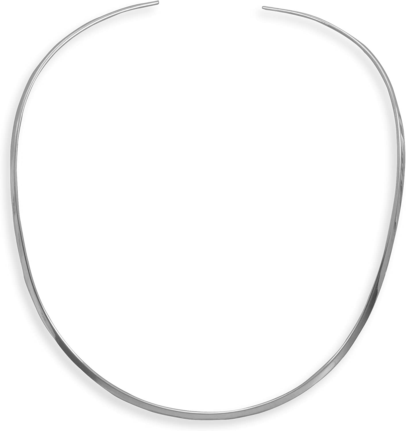 Collar High quality Necklace Flat 3mm Open Portland Mall Sterling Polished Silver Back