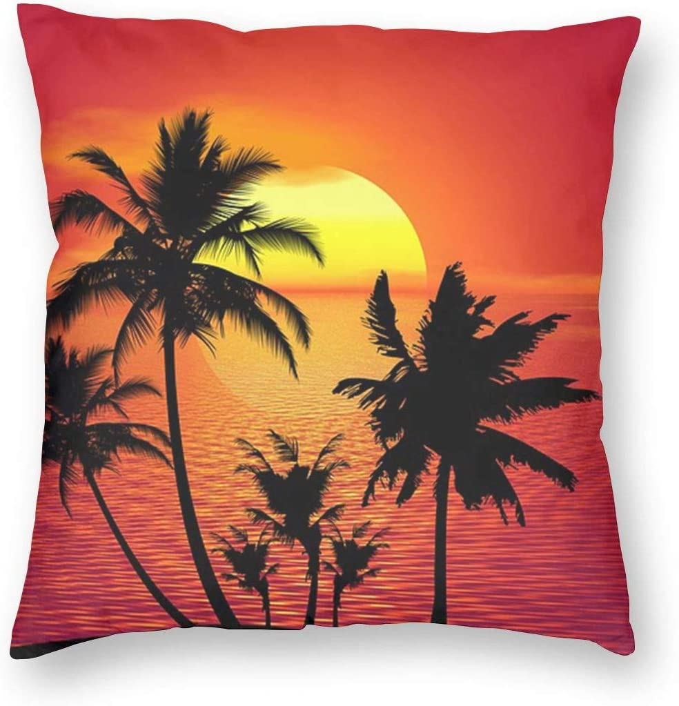 Neon Palm Trees Square Throw Pillowcases Cushion Case For Home Decor Kitchen Dining