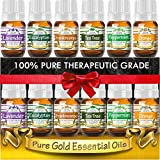 Essential Oils Gift Set of Top 6 (Lavender, Peppermint, Tea Tree, Orange, Frankincense, and Eucalyptus) 100% Pure & Natural for Diffuser, Aromatherapy, Topical Use