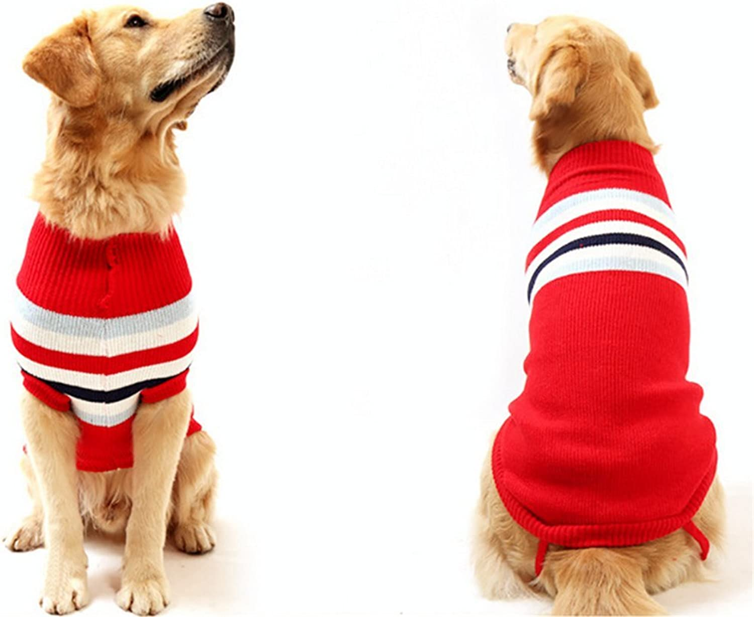 NACOCO Dog Sweater Pet Winter Sweaters Striped Holiday for Large Dog (Red, S)