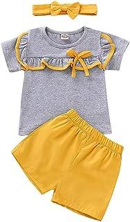 Weixinbuy Toddler Baby Girls Boys Grey Short Sleeve Top Shirts + Yellow Shorts 2 Pcs Pants Clothes Set