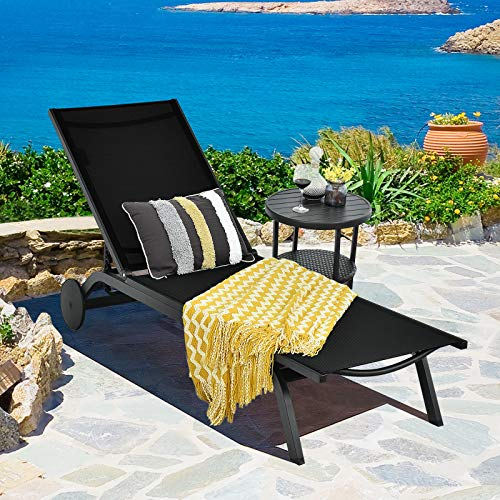 CASART Chaise Lounge Chair, Aluminum Sun Lounger Bed with Wheels, 6-Position Adjustable Outdoor Recliner Chair for Patio, Beach, Poolside and Deck
