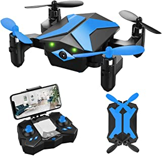Drone for Kids - Attop Drones with Camera for Kids, AR Game Mode RC Mini Drone w/App Gravity/Voice Control/Trajectory Flight/Altitude Hold 360°Flip Kids Drone Foldable & Portable-Blue