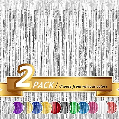 Niceclub Cortina de papel de aluminio con flecos para boda, cumpleaño