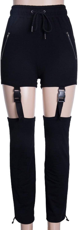 Women's High Waist Drawstring Casual Pants Two Wear Street Handsome Beam Foot