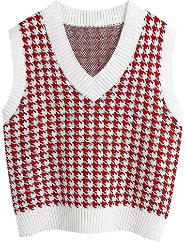 FRMUIC Women's Houndstooth Top Vest Knitted Shirtv Neck Sleeveless Pullover European and American Fashion Sweater (3X-Large, red)