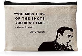 Ihopes Michael Scott Inspirational Quotes Canvas Zipper Pouch   You Miss 100% of The Shots Pencil Case/Pencil Pouch/Pen Or...