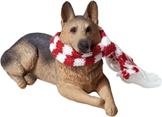 Sandicast German Shepherd with Red and White Scarf Christmas Ornament