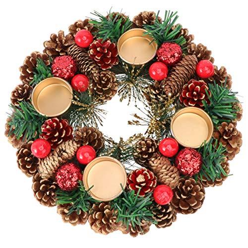 Doitool Corona de Adviento de Navidad Calendario de Adviento Temporada Soporte de Vela Garland Ring Centerpiece Decoración para Navidad Festive Holiday Wedding Ornament 27Cm