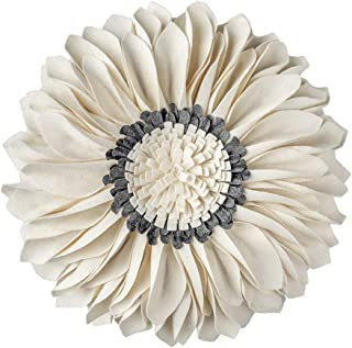 JWH 3D Sunflower Accent Pillow Hand Craft Round Cushion Decorative Pillowcase with Pillow Insert Home Sofa Bed Living Room Decor Gift 14 Inch / 35 cm Wool Beige Gray Chekcer